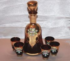 Vintage Bohemian Italian Glass Amethyst Purple Decanter Set Gold Applied Floral