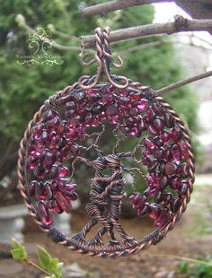 Romantic Couple Tree of Life Wire Wrapped Pendant Jewelry Anniversary Wedding