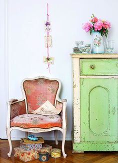 chippy green cabinet and great chair