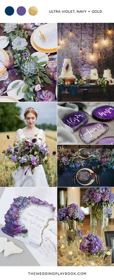 2019 Brides Favorite Purple Wedding Colors---purple and gold in wedding centerpieces, wedding bouquets, wedding cakes and wedding decorations, elegant wedding for spring and summer Gold Wedding Colors, Summer Wedding Colors, Wedding Color Schemes, Wedding Flowers, Summer Colors, Purple And Gold Wedding, Summer Themes, Lavender Wedding Theme, Gold Wedding Theme