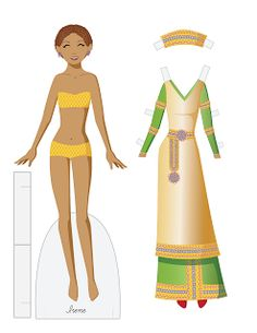 Irene vector paper doll.  A historical paper doll based on Irene, a Byzantine empress.