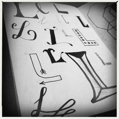 L, kleine letters, handlettering