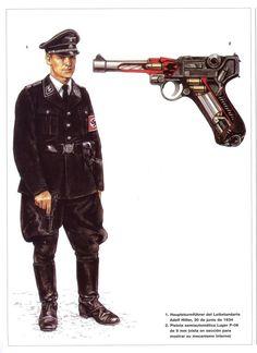 Hauptsturmfuhrer (Captain) of the Leibstandarte 'Adolf Hitler',Rohm June 1934 Ww2 History, Modern History, Military History, Ww2 Uniforms, German Uniforms, Military Uniforms, Anne Frank, Luftwaffe, Osprey Publishing