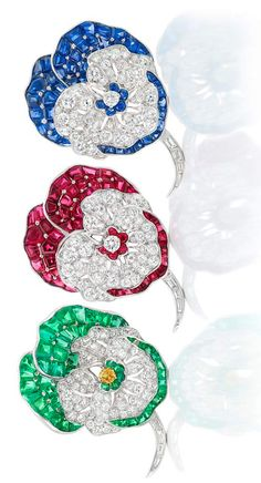 Two Platinum, Diamond, Ruby and Sapphire Pansy Clip-Brooches, by Oscar Heyman…