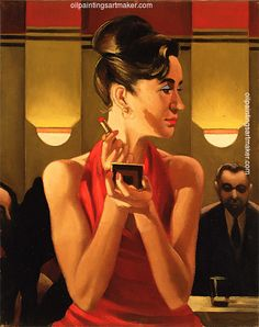 Jack Vettriano Working the Lounge art painting sale, painting - $3,000.00 Authorized official website