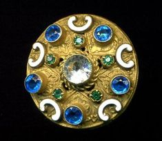 Antique Button…Gorgeous Blue & Green Jewel with Enamel Trim & Special Back