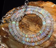 """43 CTW 2-6 MM 16""""NATURAL GENUINE ETHIOPIAN WELO FIRE OPAL BEADS NECKLACE-R7386"""