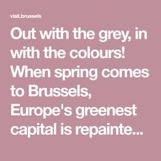 Out with the grey, in with the colours! When spring comes to Brussels, Europe's greenest capital is repainted in technicolour, green for the parks and gardens, pink for the Japanese cherry trees, blue for the bluebells...