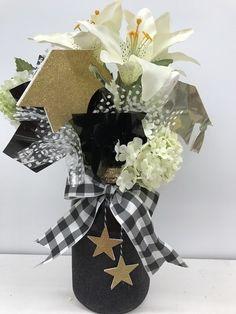 Black and Gold graduation jar centerpiece idea