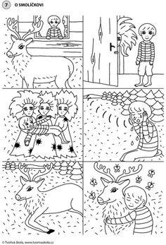 POHÁDKY: O Smolíčkovi (časová posloupnost) Story Cubes, Sequence Of Events, Paper Birds, English Language Learning, Winter Art, Pre School, Preschool Crafts, Literacy, Coloring Pages