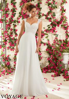 Wedding Gowns By Voyage featuring Venice Lace Appliques on Delicate Chiffon Available in White, Ivory
