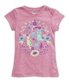 This Heather Pink Flora & Fauna Fitted Tee - Toddler & Girls is perfect! #zulilyfinds