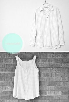 DIY Mens Dress Shirt to Tank TopMake this loose fitting tank top with minimal sewing. This is not a total reconstruction project. You can find more DIY refashioned men's shirts at this link. Find this easy restyle DIY Men's Dress Shirt Tank Top...