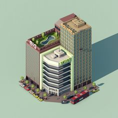 Minecraft City, Minecraft Projects, Minecraft Buildings, 3d Building Models, Big Building, Isometric Art, Isometric Design, Cube World, Sims