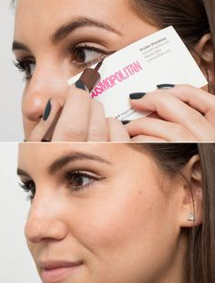 22 Genius Eyeliner Hacks Every Woman Needs to Know - Use the edge of a business card to get the perfect flick. Try tracing the line if freehand drawing is too tricky. Eyeliner Hacks, Eyeliner Styles, Eyeliner Pencil, Loreal Eyeliner, Eyeliner Brands, Simple Eyeliner, Perfect Eyeliner, How To Apply Eyeliner, White Eyeliner