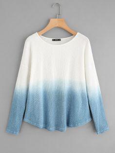 Rib Knit Curved Hem Ombre T-shirt -SheIn(Sheinside)