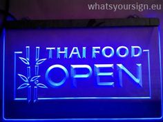 Thai Food Open - LED neon sign light display made of the premium quality clear acrylic and briliant colorful LED glow. The neon sign displays exactly the same from every angle thanks to the carving with the modern 3D laser engraving process. This LED neon sign is a great gift idea! The neon is provided with a metal chain for displaying. Available in 3 sizes in following colours: Purple, Orange, Yellow, Red, White, Green and Blue!