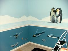 Penguin Nursery Mural - I like the top part, not the bottom. I was thinking grey walls with one wall being a penguin mural Penguin Nursery, Penguin Baby, Baby Room Decor, Room Themes, Cool Stuff, Kid Stuff, Girl Room, Kids Bedroom, New Baby Products