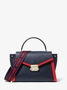 a7b7d8e5cc Whitney Medium Logo Tape Pebbled Leather Satchel - Multicolor - Michael  Kors Shoulder bags Media Logo