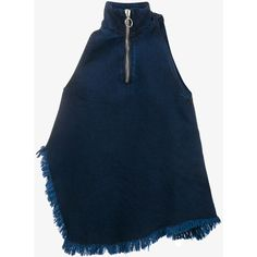 MARQUES ALMEIDA Sleeveless Raw Edge Denim Top ($255) ❤ liked on Polyvore featuring tops, blue tank, zipper top, asymmetrical hem top, sleeveless tops and high neck tank