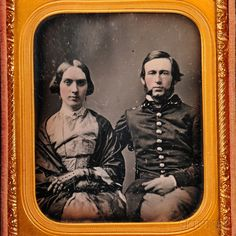 Sixth-plate Daguerreotype Portrait of a Young Military Officer and His Wife