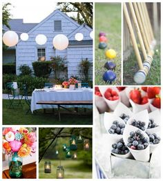 Love the cones of fresh fruit for an engagement party.