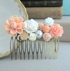 Peach Hair Comb Wedding Pink Head Piece Floral by Jewelsalem, bridal party gift for wedding day
