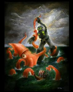 Squid vs. robot (buy on Etsy)