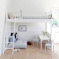 Later #bed #desk #reading nook #white
