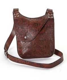 1247044b5c37 Brown Embossed Leather Fold-Over Crossbody Bag  34.99 by Zulily Brown  Leather Crossbody Bag