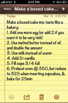 Photo: Make a boxed cake mix taste like a bakery cake. This is the cheat that I use for my cakes. Categories: Food And Drink Added: Description: Make a boxed cake mix taste like a bakery cake. This is the cheat that I use for my cakes.