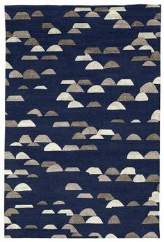 Judy Ross Hand-Knotted Custom Wool Glitter Rug midnight/parchment silk/smoke silk/iron silk