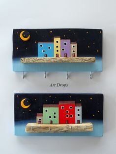 Pin by Tatjana Tekovic on My work Sea Crafts, Easy Diy Crafts, Crafts To Make, Wooden Art, Wood Wall Art, Small Wooden House, Wooden Houses, Dremel Projects, Driftwood Crafts