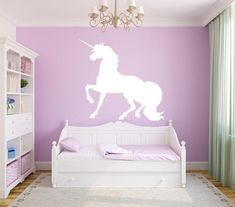 Unicorn Single Colour Wall Sticker, exclusively at Canvas Art Rocks. Complete you room with one of our beautiful wall stickers. All come with FREE delivery. Unicorn Bedroom Decor, Unicorn Rooms, Wall Stickers Girl Bedroom, Bedroom Wall Colors, Unicorn Wall Decal, Luxury Bedroom Furniture, Luxury Bedding, Little Girl Rooms, Luxurious Bedrooms