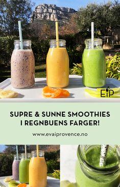 SUPRE & SUNNE SMOOTHIES I REGNBUENS FARGER! Espresso Martini, Milkshake, Smoothies, Mango, Soap, Snacks, Fruit, Glass, Tips
