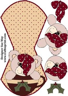 Christmas Teddy Teacup Wobble Card on Craftsuprint designed by Sue Way - Wobble or rocker card that features a cute teddy in a teacup. Simply cut out, score, fold and add the easy to cut decoupage layers for a fun Christmas card that everyone will love.  - Now available for download!