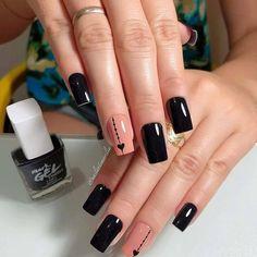 Chic black manicure with hearts - Pat Tutorial and Ideas Black Manicure, Manicure E Pedicure, Glitter Nails, Gel Nails, Acrylic Nails, Nail Nail, Love Nails, Pretty Nails, Peach Nails