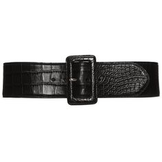 Alligator Trench-Buckle Belt ❤ liked on Polyvore featuring accessories, belts, alligator belt and buckle belt