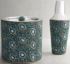 Peacock feather inspired beaded barware - ice bucket and shaker. From Pier 1 Imports