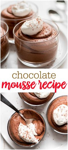 chocolate dessert recipes Chocolate Mousse is a sophisticated ultra smooth and creamy dessert that is perfect for serving at a dinner party. This chocolate dessert is sure to Desserts Nutella, Keto Desserts, Chocolate Desserts, Easy Desserts, Chocolate Chip Cookies, Delicious Desserts, Desserts For Dinner Party, Recipes Dinner, Cooking Chocolate