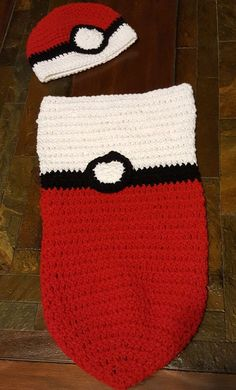 Carry on the tradition with this Pokemon inspired Cocoon and Hat set for the new little Pokemon enthusiast. Fits Newborn to 3 months. Both the Cocoon and Hat were handcrafted with 100% acrylic yarn fo