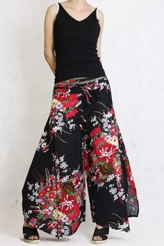 Black Red floral linen long pants split skirt Low Rise by angeldew - StyleSays