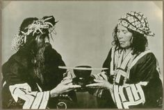 Married Ainu couple with eating bowl and beard lifter, 1937 by S. Kinoshita
