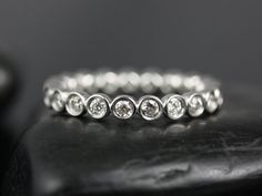 Original Bubbles 14kt Round Bezel Diamond Eternity Band (Other Metals and Stone Options Available) on Etsy, $995.00