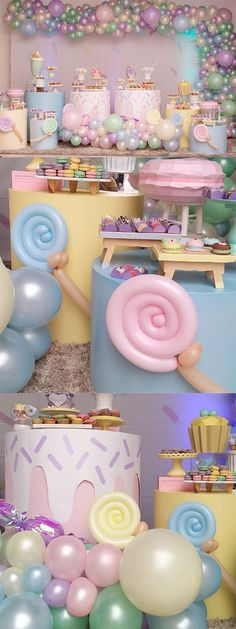 Candy Theme Birthday Party, Candy Land Theme, Birthday Cake For Mom, Candy Party, 2nd Birthday Parties, Girl Birthday, Donut Party, Cupcake Party, Pastel Party