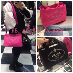 ? PRADA Saffiano Leather Tote Bag - BN2316 / Fuxia / Orchidea ...