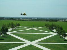 Helicopter landing at the TXST Round Rock Campus.