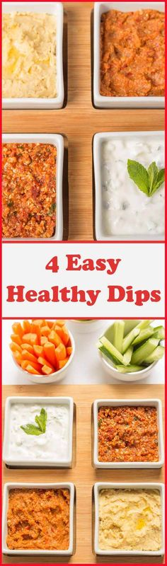These 4 easy healthy dips to make are perfect for sharing with friends or taking to parties. Tasty and delicious, these guilt free dip recipes are made with less salt, are lower in fat and have no sugar added unlike shop bought. Your friends will thank you for helping to look after their waistlines!