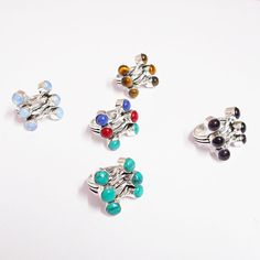 MULTI STONE ADJUSTABLE SIZE WHOLESALE LOT 5PCS 925 STERLING SILVER OVERLAY RINGS #VKSilvexJaipur #Ring