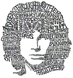 Portrait Print featuring the drawing Jim Morrison Black And White Word Portrait by Kato Smock